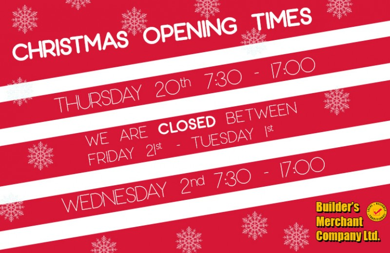 BMC CHRISTMAS OPENING TIMES