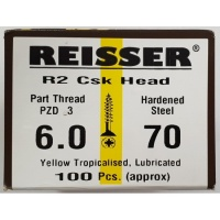 Reisser R2 Wood Screw CSK Yellow 6.0 x 70mm