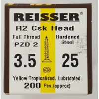 Reisser R2 Wood Screw CSK Yellow 3.5 x 25mm