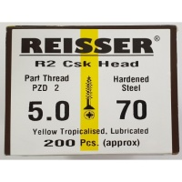 Reisser R2 Wood Screw CSK Yellow 5.0 x 70mm