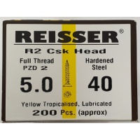 Reisser R2 Wood Screw CSK Yellow 5.0 x 40mm