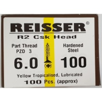 Reisser R2 Wood Screw CSK Yellow 6.0 x 100mm