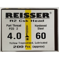 Reisser R2 Wood Screw CSK Yellow 4.0 x 60mm
