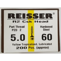 Reisser R2 Wood Screw CSK Yellow 5.0 x 60mm