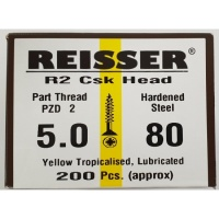 Reisser R2 Wood Screw CSK Yellow 5.0 x 80mm